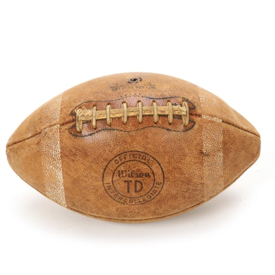Official Wilson TD Intercollegiate A Code Leather Football, Vintage
