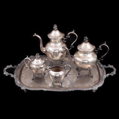 Birmingham Silver Co. Silver Plate Tea and Coffee Service, Mid-20th Century
