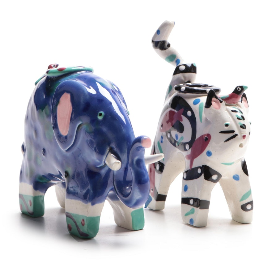 Dana Simson for Chesapeake East Pottery Elephant and Cat Ceramic Candle Holders