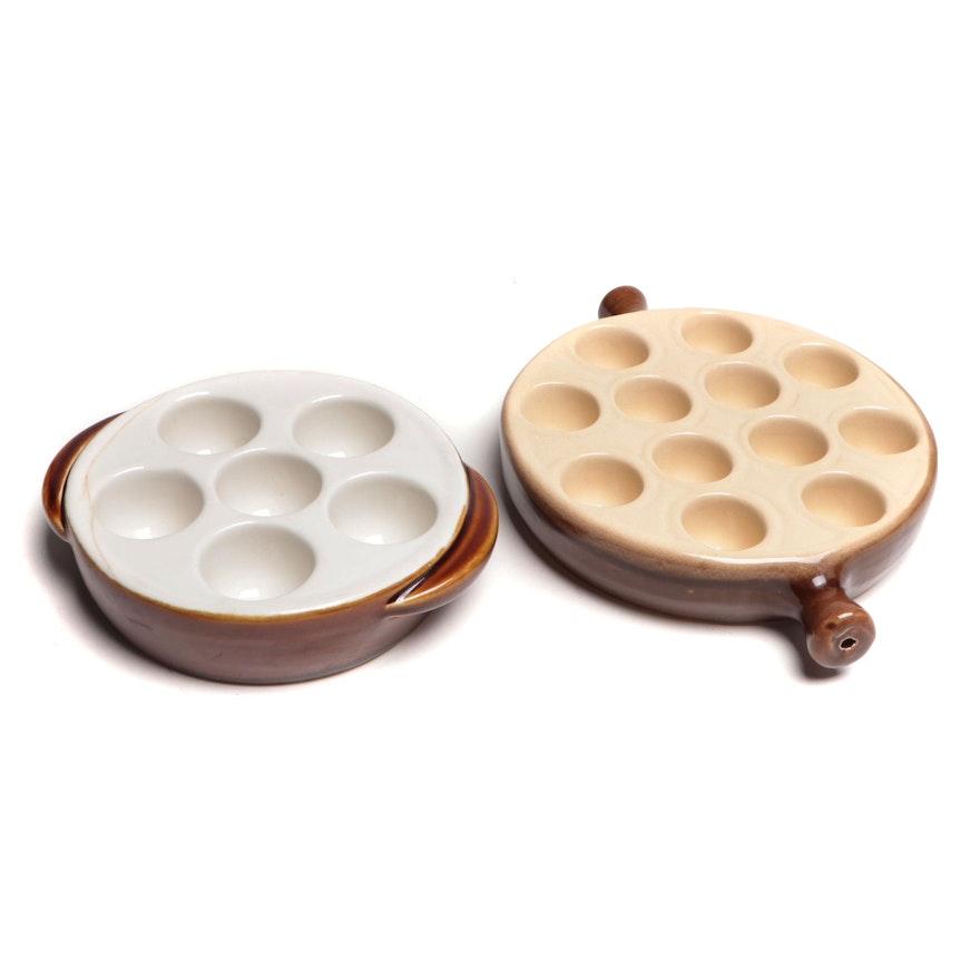 La Bourguignonne and Hall Ceramic Escargot Pan, Mid to Late 20th Century