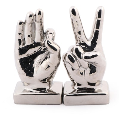 Metallic Glazed Ceramic Hands, Contemporary