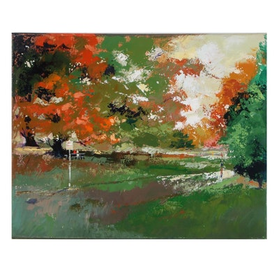 "Said Oladejo-lawal Acrylic Painting ""Sharonwood Park - No Parking,"" 21st Century"