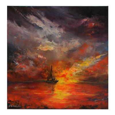 "Farshad Lanjani Acrylic Painting ""Ship in Sunset,"" 21st Century"