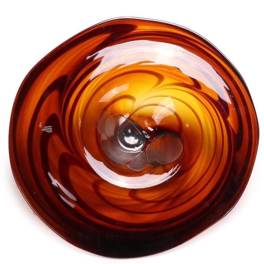 Blown Art Glass Disk Shaped Wall Decor, 21st Century