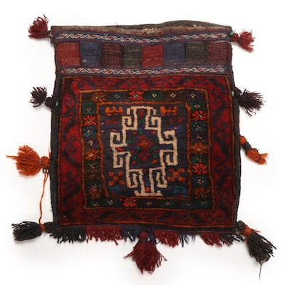 1'11 x 1'11 Handmade Afghan Baluch Storage Bag with Knotted Pile Face
