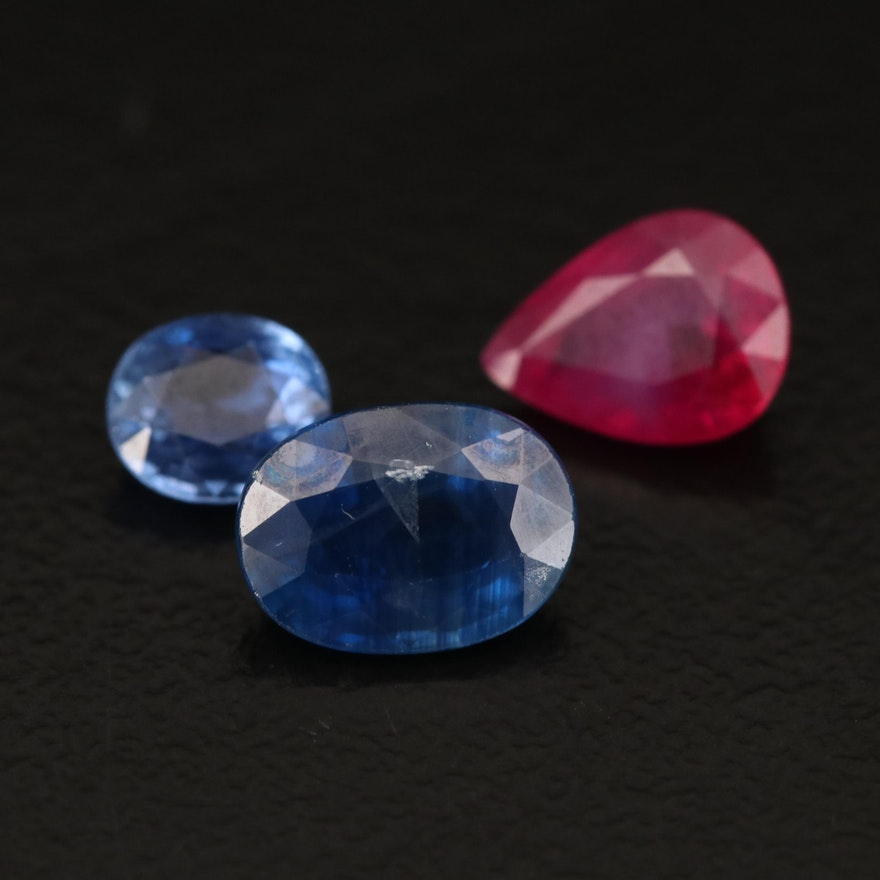 Loose 2.50 CTW Faceted Ruby and Sapphires