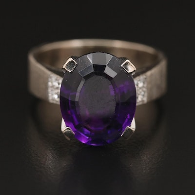 18K Amethyst and Diamond Ring with Florentine Finish
