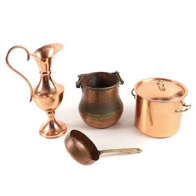 Copral Small Stock Pot and Other Copper Cook and Tableware, 20th Century