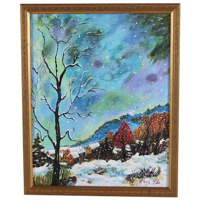 "Ying Ed Acrylic Painting ""Winter Calm,"" 2020"