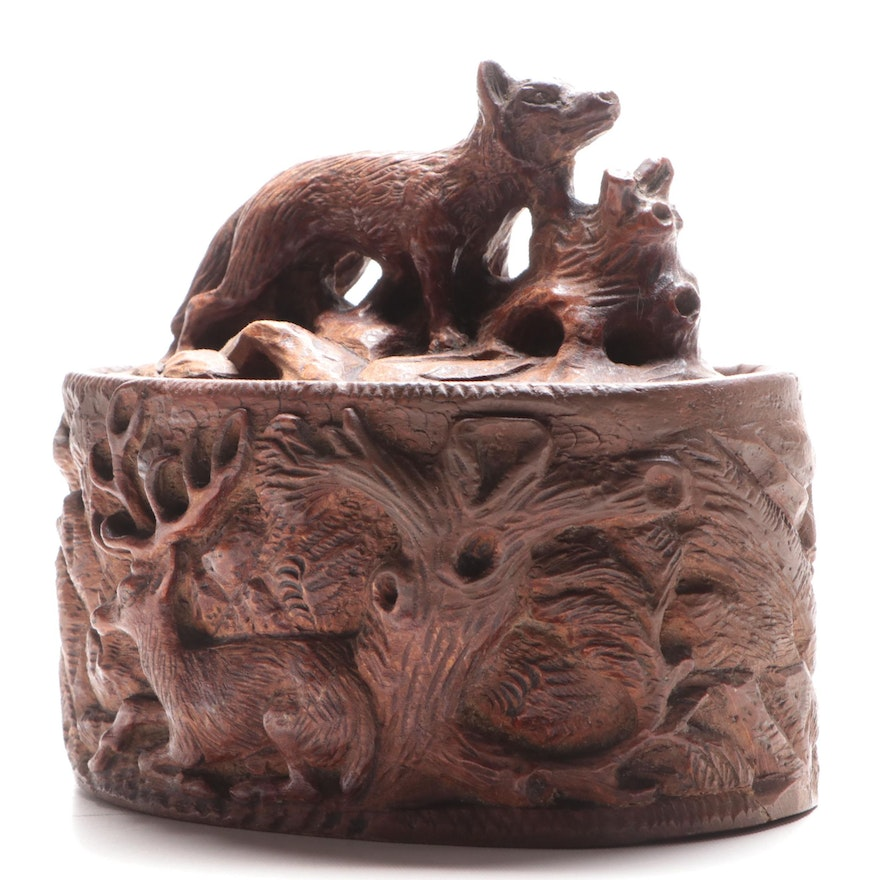 Black Forest Hand Carved Walnut Hunting Themed Box , 1891