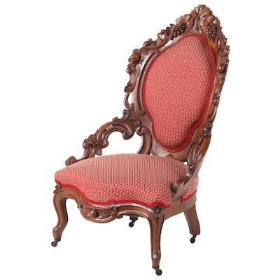 Victorian Rococo Revival Carved Walnut Slipper Chair, 19th Century