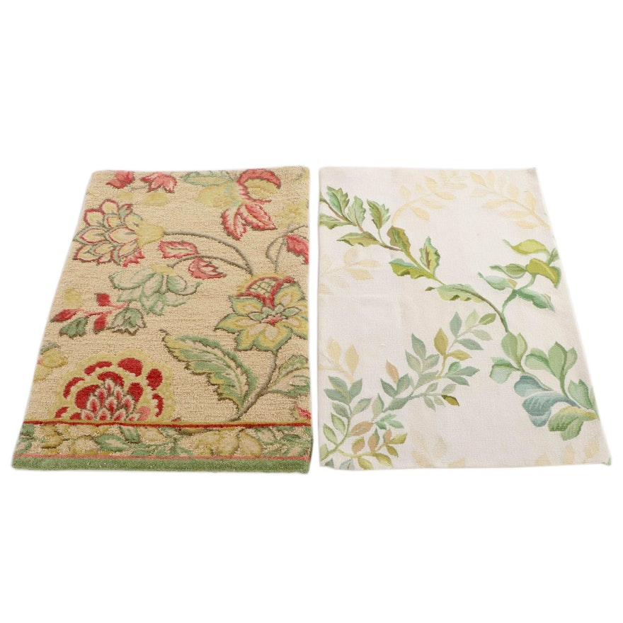 2'0 x 3'0 Handmade Chinese Wool Floral Accent Rugs from The Rug Gallery