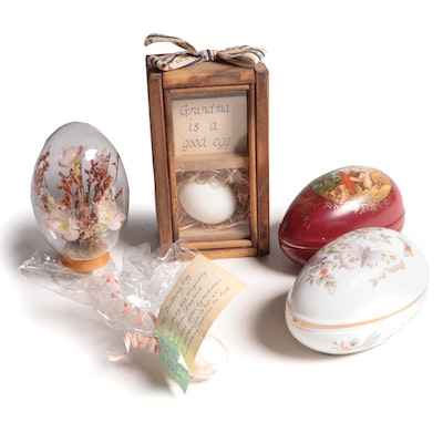 Porcelain Egg Shaped Trinket Boxes with Other Decorative Accessories