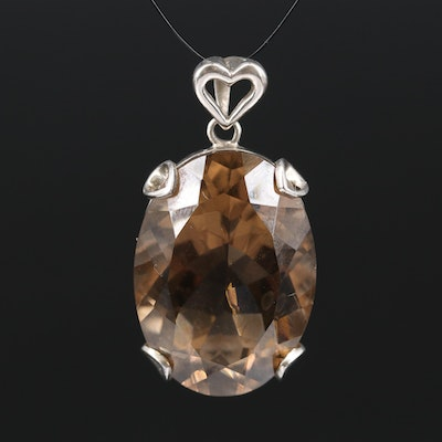 Sterling Silver 32.08 Smoky Quartz Pendant