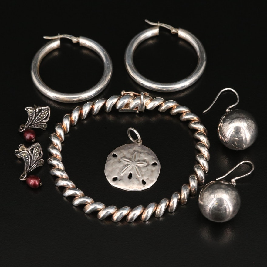 Sterling Jewelry Featuring San Marco Bracelet and Sand Dollar Pendant