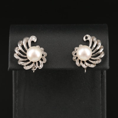 Palladium Pearl and Diamond Earrings