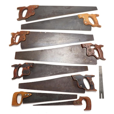 H. Disston & Sons and Warranted Superior Saws with Various Handles