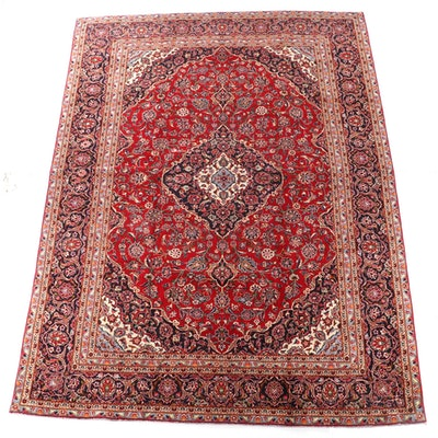 8'11 x 12'5 Hand-Knotted Persian Kashan Wool Room Sized Rug