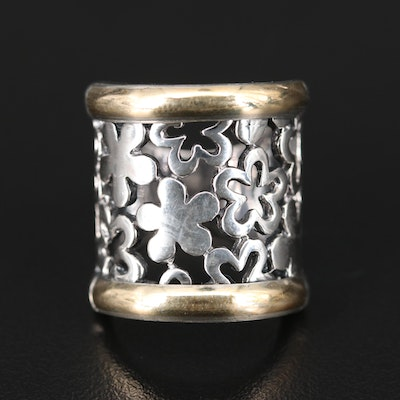 Sterling Silver Floral Openwork Ring with 14K Accents