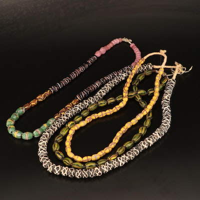 Trade Bead Necklace Featuring Venetian Rattlesnake, French Cross and Melon Beads