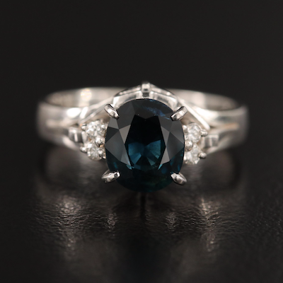 Platinum 1.39 CT Sapphire and Diamond Ring