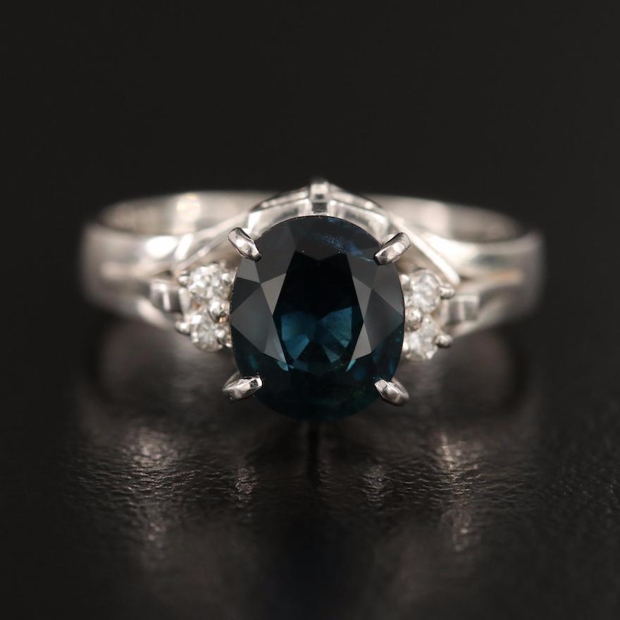 Platinum 1.39 CT Sapphire and Diamond Ring
