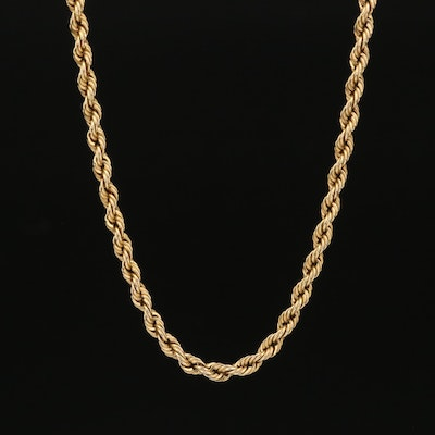 10K Rope Chain Necklace with 14K Clasp