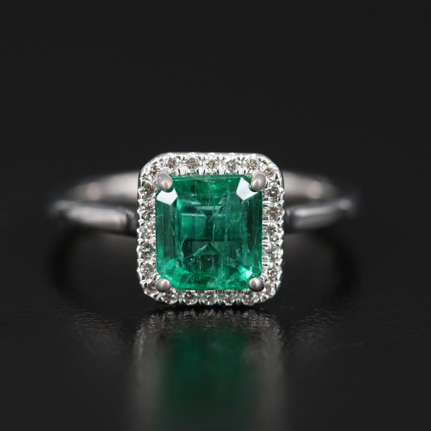 14K 1.66 CT Emerald and Diamond Halo Ring with GIA Report