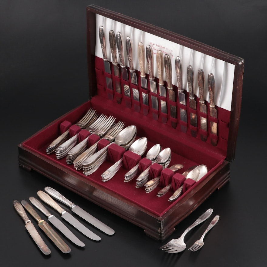 "Rogers Bros. ""Ambassador"" and Other Silver Plate in Flatware Chest"
