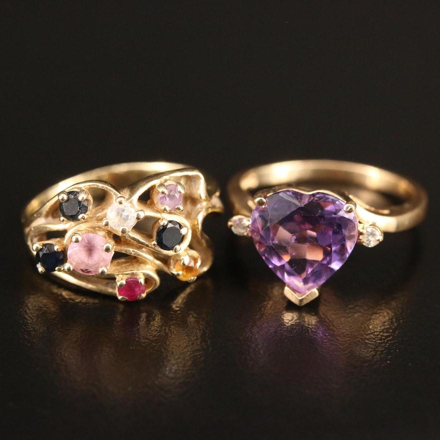 14K Diamond and Gemstone Rings