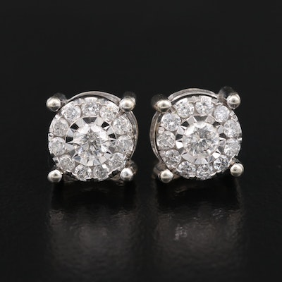 10K Diamond Cluster Earrings