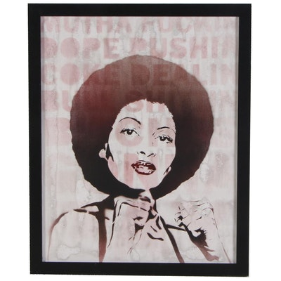 Mr. Mahaffey Stenciled Acrylic and Spray Painting of Pam Grier's Foxy Brown