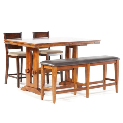 Winners Only Counter Height Expandable Trestle Table and Bench with Chairs