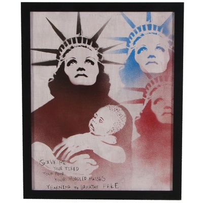 "Mr. Mahaffey Stenciled Acrylic and Spray Painting ""Mother of Exiles"""