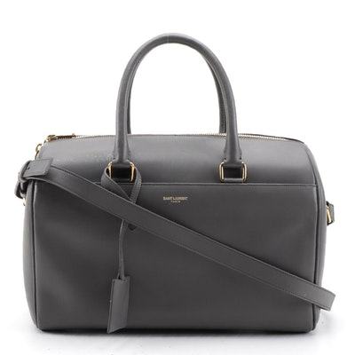 Saint Laurent Classic Duffel 12 in Smooth Gray Leather