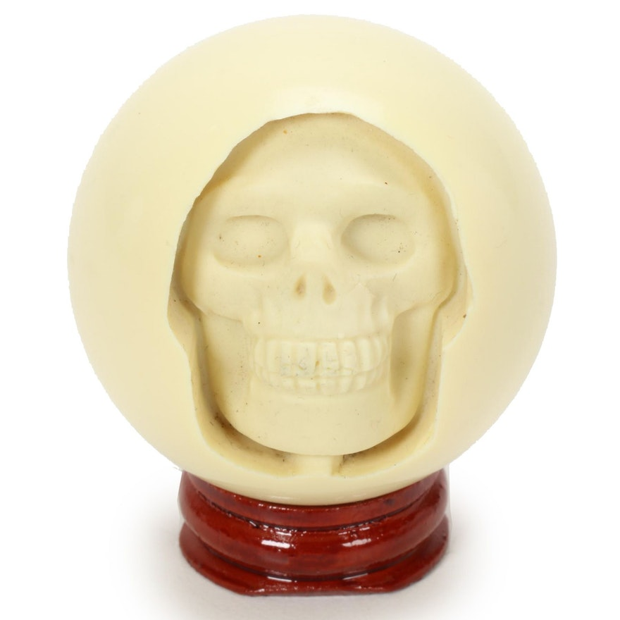 Billiard White Cue Ball Skull Carving on Stand