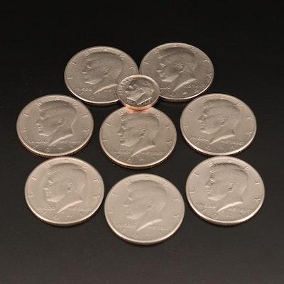 Error Roosevelt Dime and Eight Kennedy Half Dollars