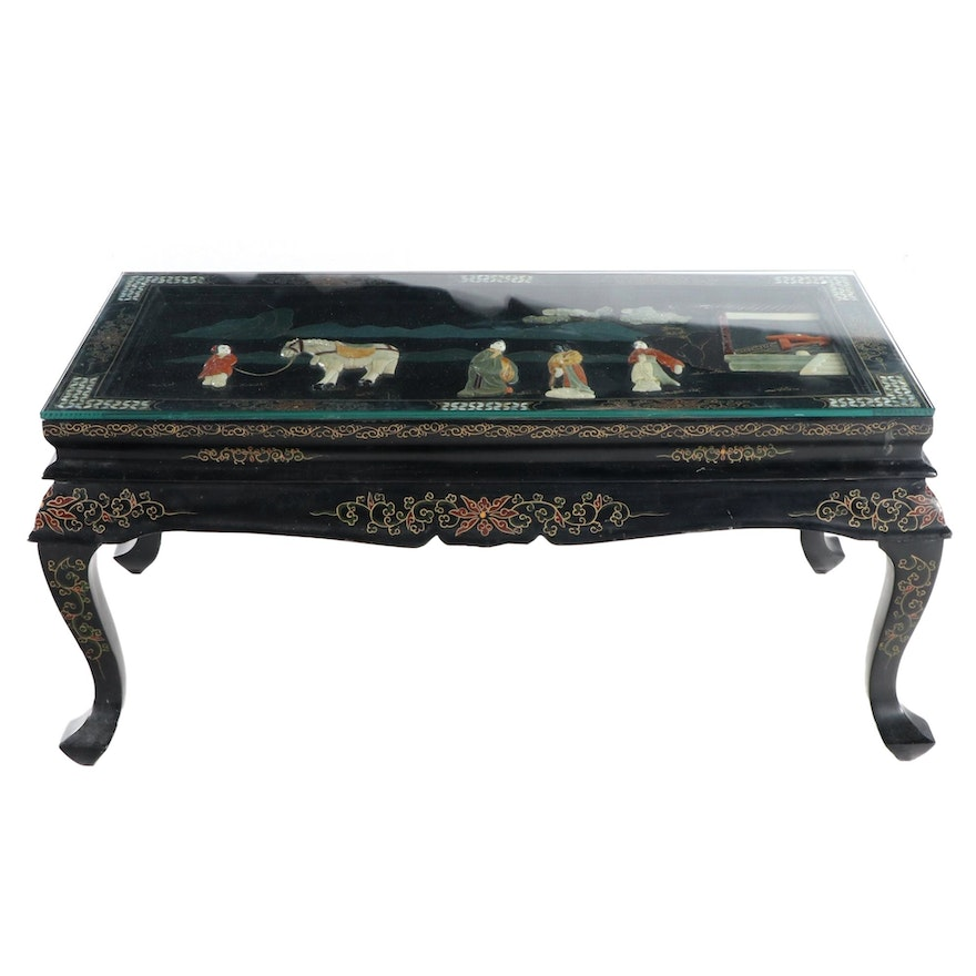 Chinese Black Lacquered, Mother-of-Pearl and Stone Inlaid Coffee Table