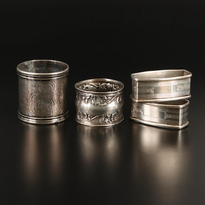 Webster and Other Sterling Silver and Metal Napkin Rings, Antique