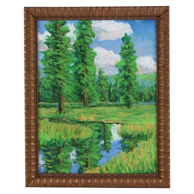 Kenneth R. Burnside Oil Painting of Mountain Valley Pond Landscape, 21st Century