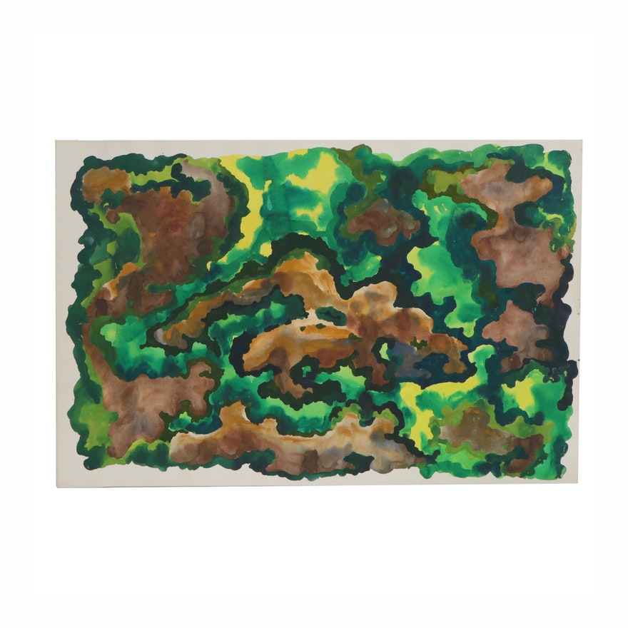 Marjorie Shaw Kubach Abstract Watercolor and Acrylic Painting, Late 20th Century