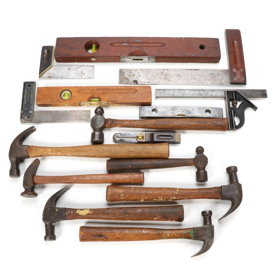 Hammers, Squares, Levels, and Other Carpentry Tools, Early/Mid 20th Century