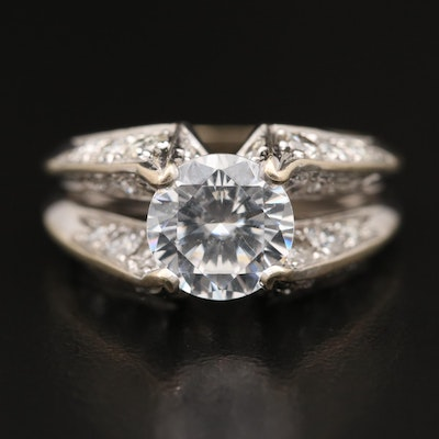 Jose Hess 18K 1.26 CTW Diamond Semi-Mount Ring with Cubic Zirconia Center