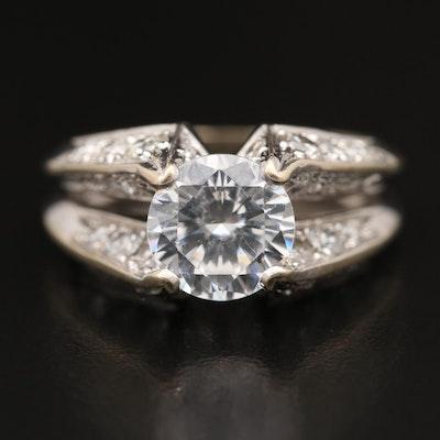 Jose Hess 18K 1.26 CTW Diamond Semi-Mount Ring with Cubic Zirconia Center