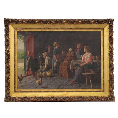 Italian School Oil Painting of Wine Bottling Interior Scene, Mid-20th Century
