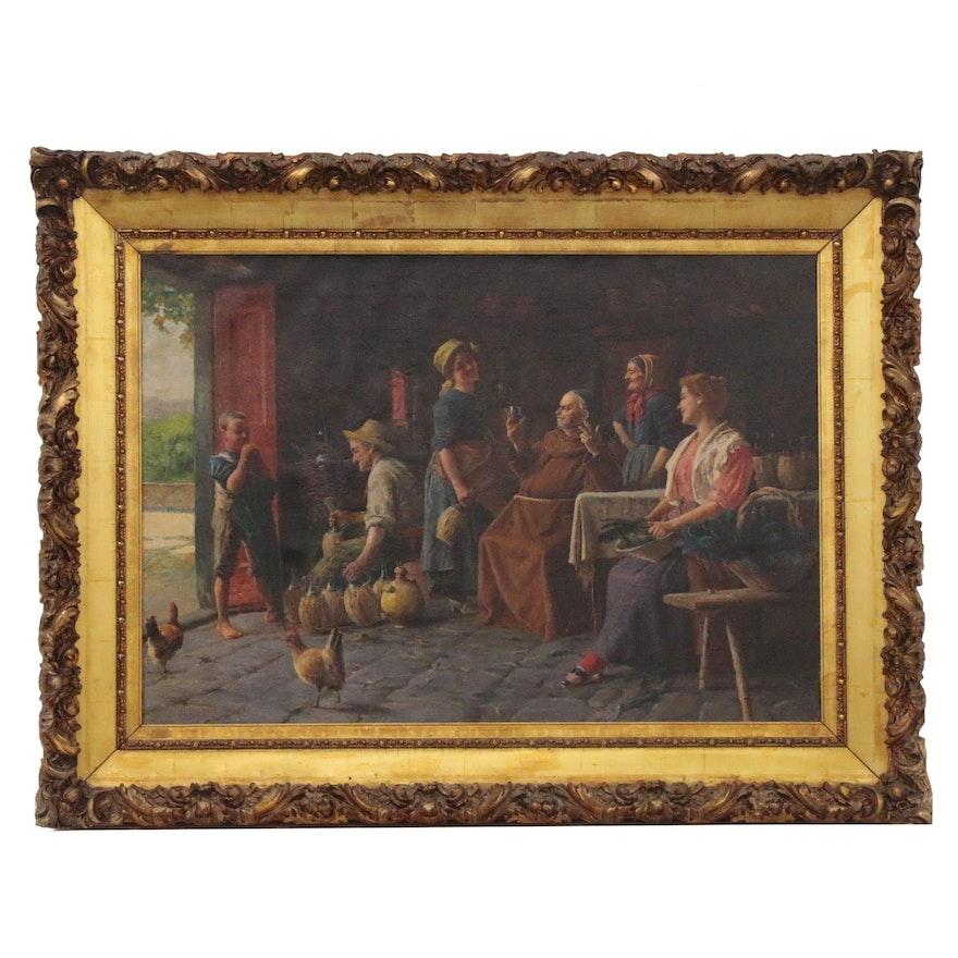 Italian School Oil Painting of Wine Bottling Interior Scene, Mid-20th Century