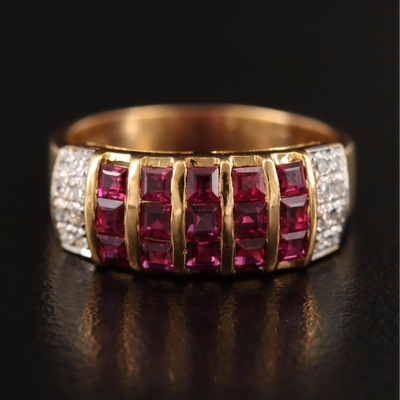 18K Ruby and Diamond Multi-Row Ring