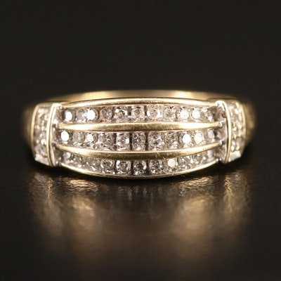 10K Triple Row Diamond Band