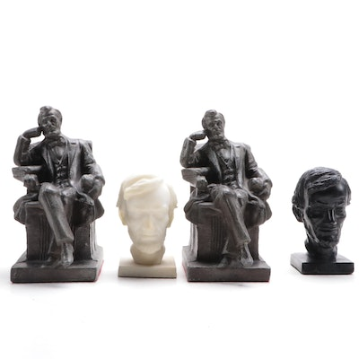 Metal Seated Abraham Lincoln Bookends with a Pair of Busts