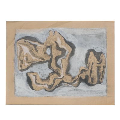 Marjorie or Allen Kubach Abstract Mixed Media Painting, Mid-Late 20th Century